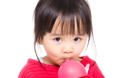 Asia little girl drinking with water bottle Royalty Free Stock Photography
