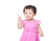 Asia little girl finger pointing out royalty free stock photography