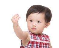 Asia little girl hand up Stock Photo
