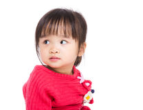 Asia little girl looking at the other side Stock Photo
