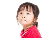 Asia little girl looking up. Isolated on white Royalty Free Stock Photo