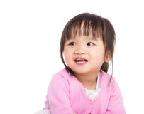Asia little girl smile and looking at other side Royalty Free Stock Photography