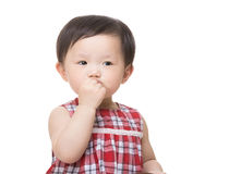 Asia little girl suck finger Royalty Free Stock Photo