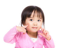 Asia little girl touch her face Stock Images