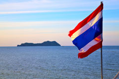 Asia  lomprayah  bay isle sunrise flag   in thailand Royalty Free Stock Photo