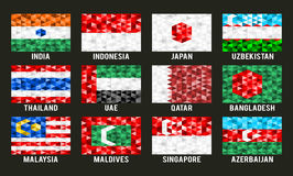 Asia low poly flags Stock Photography