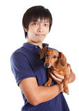 Asia man with dog Stock Photo