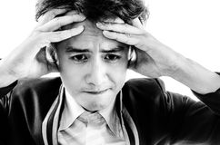 Asia man face worry. royalty free stock photography