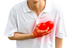 Asia man with a heart pain Royalty Free Stock Images
