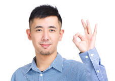 Asia man with ok sign gesture Royalty Free Stock Photo