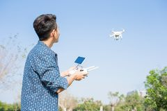 Man play drone Stock Image
