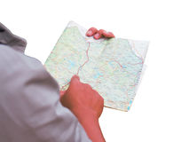 Asia man standing with map. On white for design royalty free stock images