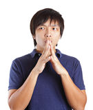Asia man thinking Royalty Free Stock Photos