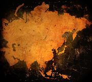 Asia map. Aged asia map-vintage artwork Royalty Free Stock Photos