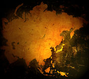 Asia map. Aged asia map-vintage artwork Royalty Free Stock Photo