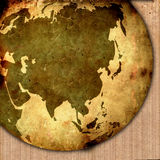 Asia map. Aged asia map-vintage artwork Royalty Free Stock Photography