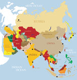 Asia Map. With names of countries stock illustration
