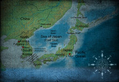 Asia map. On vintage paper royalty free illustration