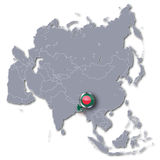 Asia map with Bangladesh Royalty Free Stock Photography