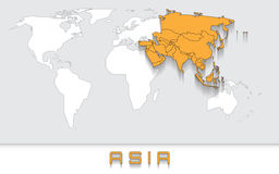 Asia on the map. Blank map of the world with orange highlighted continent of Asia royalty free illustration