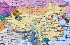 Asia map and compass. Travel background royalty free stock photo