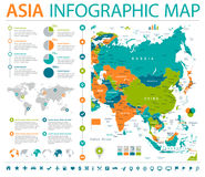 Asia Map - Info Graphic Vector Illustration. Asia Map - Detailed Info Graphic Vector Illustration vector illustration