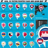 Asia Map and flags Pointer Icons set2 Royalty Free Stock Image