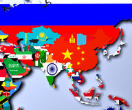 Asia map - highly detailed 3d illustration Stock Images