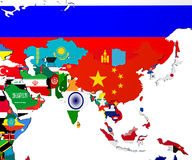 Asia map - highly detailed 3d illustration in white Stock Photo
