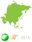 Asia map and icon Royalty Free Stock Photos