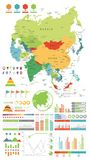 Asia map and Infographics design elements. On white. Asia map and Infographics design elements. Business template in flat style for presentation, booklet royalty free illustration