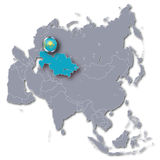 Asia map with Kazakhstan. And tourism stock photography