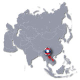 Asia map with Laos Stock Photography
