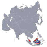 Asia map with Malaysia. And tourism royalty free stock images