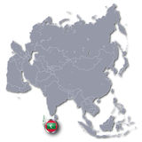Asia map and the Maldives Stock Image