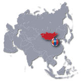 Asia map with Mongolia Royalty Free Stock Photo