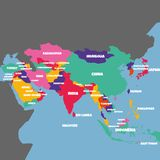 ASIA MAP WITH THE NAME OF THE COUNTRIES stock illustration