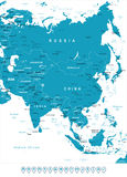 Asia - map and navigation labels - illustration. Stock Image