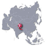 Asia map with Nepal. An mountain tourism vector illustration