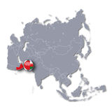 Asia map with Oman Stock Photo