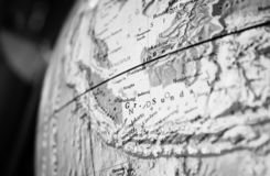Asia map part of a world globe. black and white photo. Asia map part of a world globe stock photography