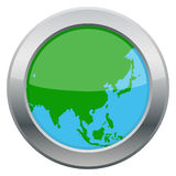 Asia Map Silver Icon. An Asia map silver icon isolated on a white background royalty free illustration