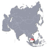 Asia map with Singapore. And tourism stock photo