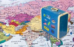 Asia map and travel case with stickers my photos. Asia map and case with stickers my photos - travel background stock image