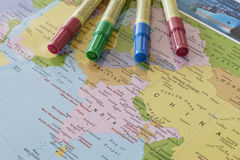 Asia on the Map. World on the map in the office royalty free stock photography