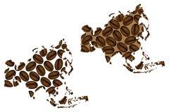 Asia - mapa del grano de café ilustración del vector