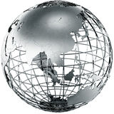 Asia in metal. 3d rendering of a metal globe showing Asia Royalty Free Stock Image