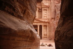 ASIA MIDDLE EAST JORDAN PETRA. The Al Khazneh Treasury in the Temple city of Petra in Jordan in the middle east Royalty Free Stock Photos