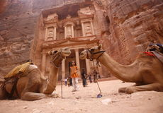 ASIA MIDDLE EAST JORDAN PETRA. The Al Khazneh Treasury in the Temple city of Petra in Jordan in the middle east Stock Image