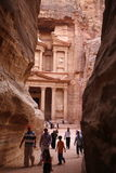ASIA MIDDLE EAST JORDAN PETRA. The Al Khazneh Treasury in the Temple city of Petra in Jordan in the middle east Royalty Free Stock Photography